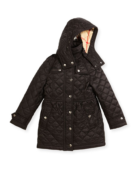 Foxmoore Hooded Quilted Trenchcoat, Black, Size 4-14
