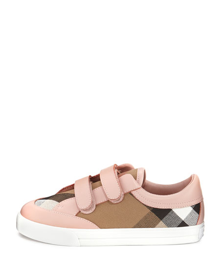 Heacham Check Canvas Sneaker, Peony Rose/Tan, Youth