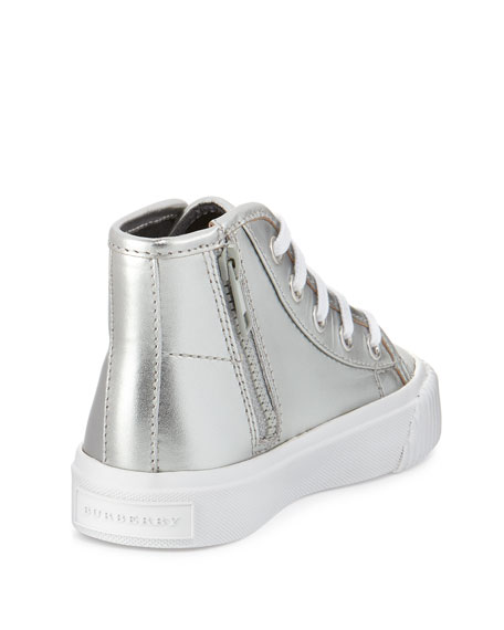 Warslow Metallic Leather High-Top Sneaker, Silver, Toddler