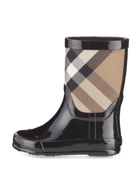 Rainmoor Check Rubber Rainboot, Black, Toddler