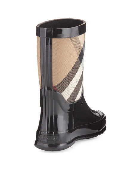 Rainmoor Check Rubber Rainboot, Black, Toddler