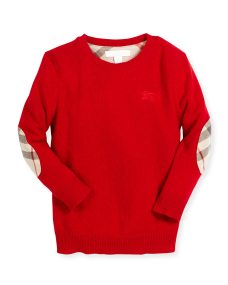 Mini Durham Cashmere Pullover Sweater, Parade Red, Size 4-14