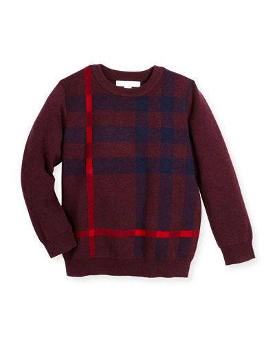 Redbury Jacquard-Check Pullover Sweater, Deep Claret, Size 4-14