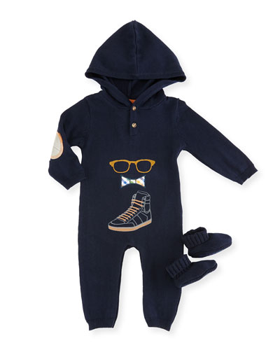 Hooded Graphic Coverall, Navy, Size 3-24 Months