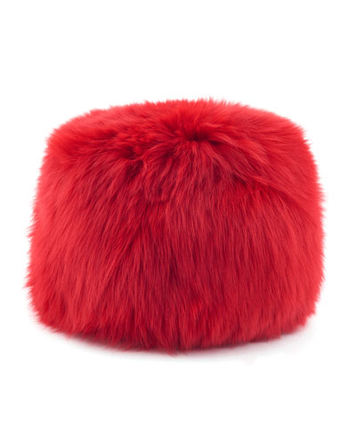 Faux-Fur Russian Hat, Red