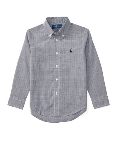 Long-Sleeve Glen Plaid Poplin Shirt, Black/White, Size 2-7