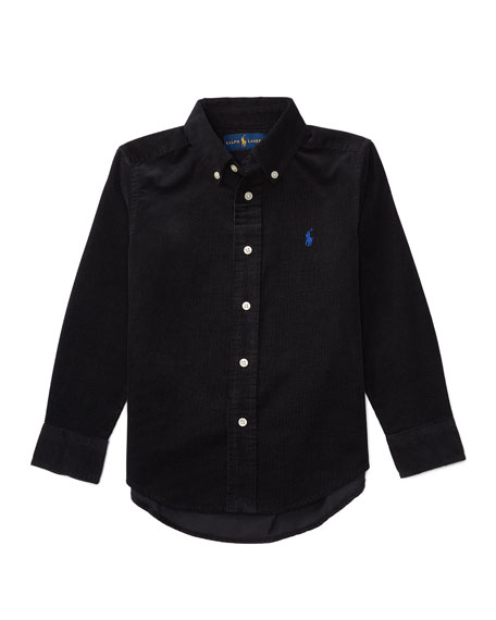 Long-Sleeve Cotton Corduroy Shirt, Black, Size 2-7
