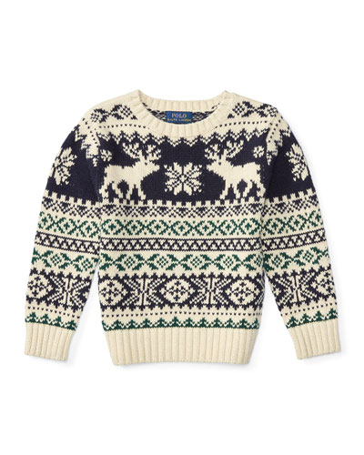 Fair Isle Reindeer Pullover Sweater, Cream/Multicolor, Size 2-7