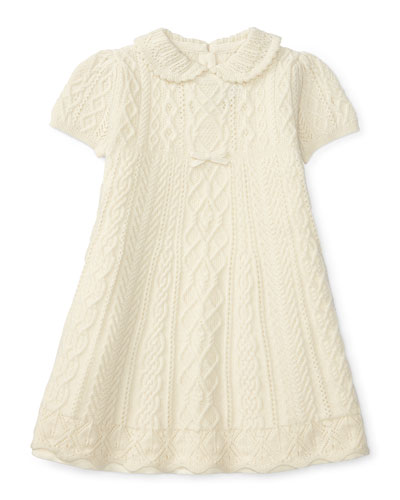 Cable-Knit Swing Dress, Cream, Size 3-24 Months