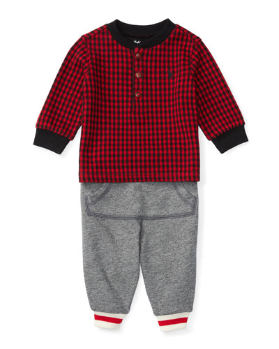 Houndstooth Pullover Sweatshirt w/ Track Pants, Red, Size 9-24 Months