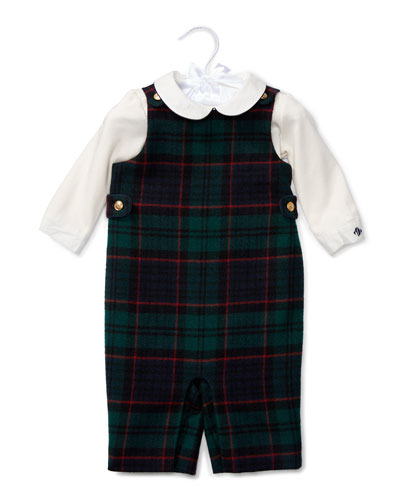 Plaid Wool Overalls w/ Pima Playsuit, Black, Size 9-24 Months