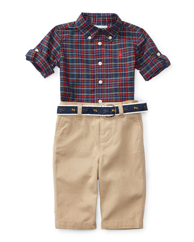 Plaid Poplin Shirt w/ Khaki Pants, Navy/Red, Size 9-24 Months