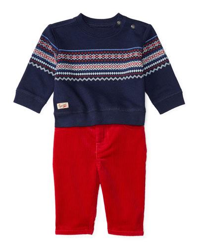 Fair Isle Crewneck Sweatshirt w/ Corduroy Pants, Navy, Size 9-24 Months