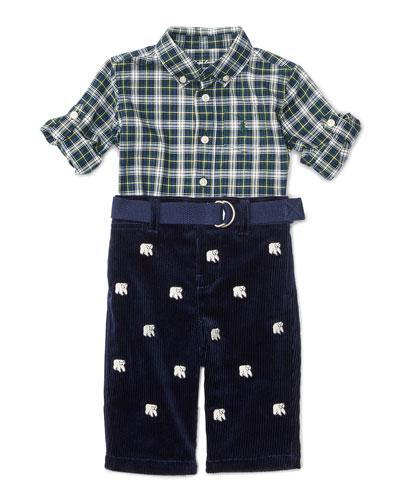 Plaid Shirt w/ Embroidered Corduroy Pants, Green/Navy, Size 9-24 Months