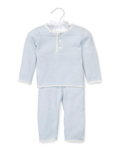 Cashmere Two-Piece Pajama Set, Blue, Size 3-12 Months