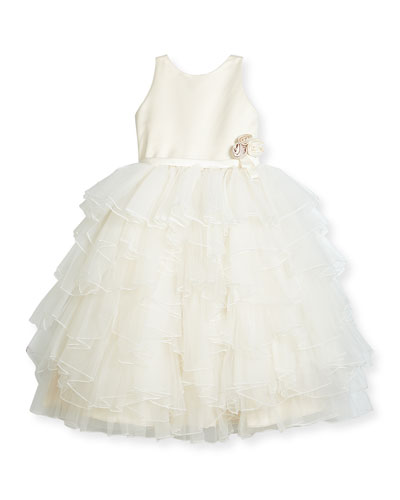 Satin & Tiered Tulle Special Occasion Dress, Ivory, Size 2-10