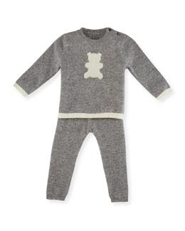 Cashmere Teddy Bear Pajama Set, Gray/Ivory, Size 3-18 Months