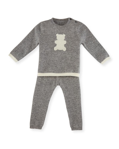 Cashmere Teddy Bear Pajama Set, Gray/Ivory, Size 3-18 Months