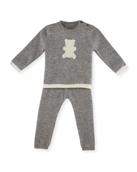 Sofia Cashmere Cashmere Teddy Bear Pajama Set, Gray/Ivory,