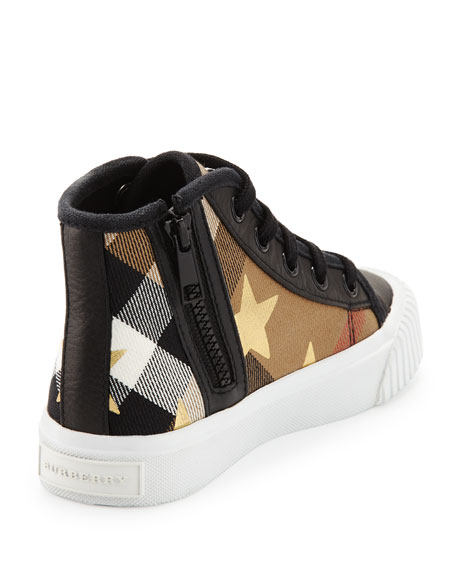 Warslow Star-Print Check High-Top Sneaker, Black, Youth