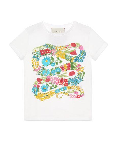 Short-Sleeve Flowered Snake Jersey Tee, White, Size 4-12