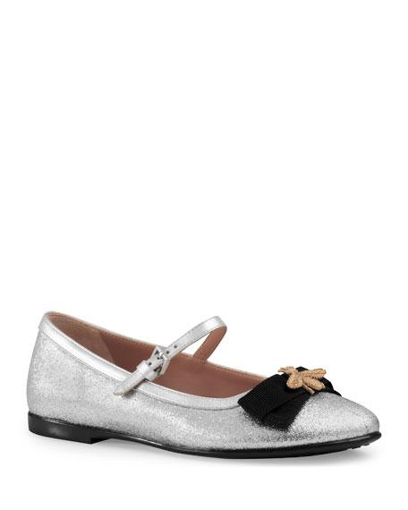 Metallic Leather Mary Jane Flat, Silver, Kids