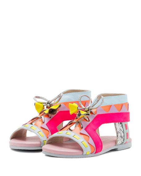 Riko Tie-Front Sandal, Pink/Multi, Toddler/Youth
