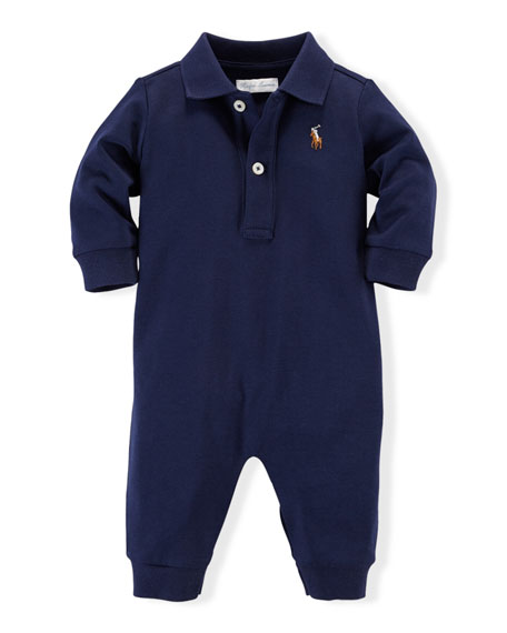 Long-Sleeve Pima Polo Coverall, French Navy, Size 3-12 Months