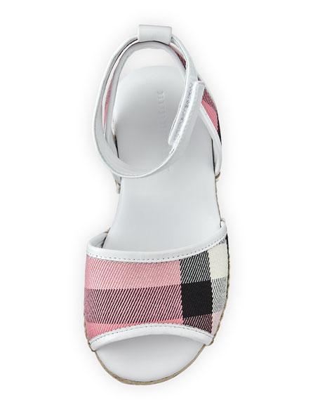 Check Open-Toe Sandal, Blush, Youth