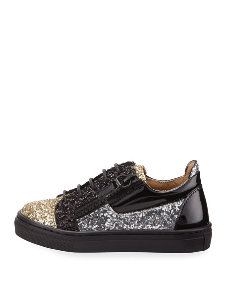 Glittered Leather Sneaker, Youth
