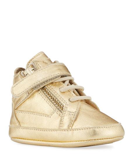 Giuseppe Zanotti Kids' Unisex Metallic Leather High-Top Sneakers,
