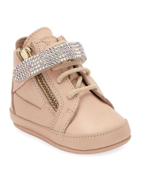Birel Crystal-Strap High-Top Sneakers, Pink, 0-9 Months