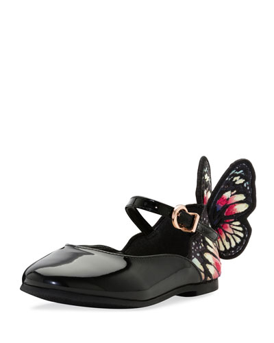 Chiara Butterfly-Wing Flat, Black Pattern, Toddler/Youth