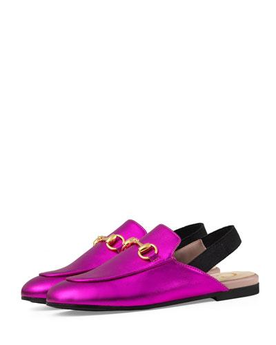 gucci kids shoes. princetown junior leather horsebit mule slide, kids\u0027 sizes 10t-2y gucci kids shoes