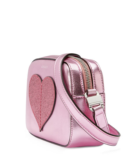 Girls' Metallic Leather Heart Crossbody Bag, Pink