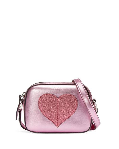 Girls' Metallic Leather Heart Crossbody Bag, Pink