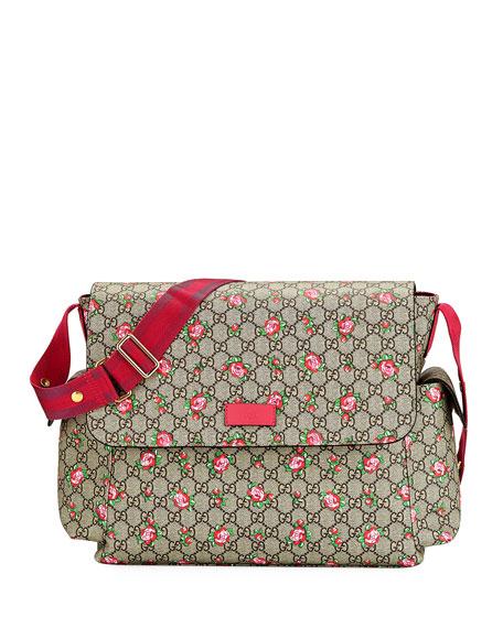 90a9f1789f2d Gucci GG Supreme Canvas Rosebud Diaper Bag w/ Changing Pad