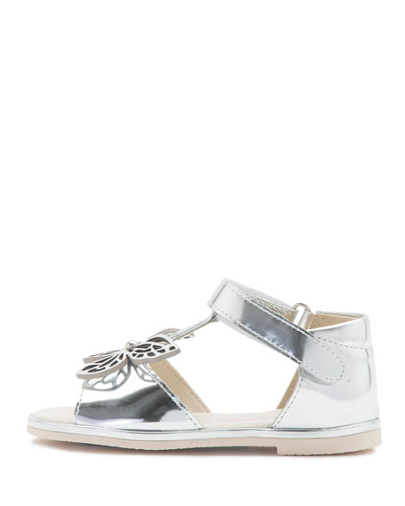 Flutterby Metallic Leather T-Strap Flat Sandals, Silver, Toddler/Youth