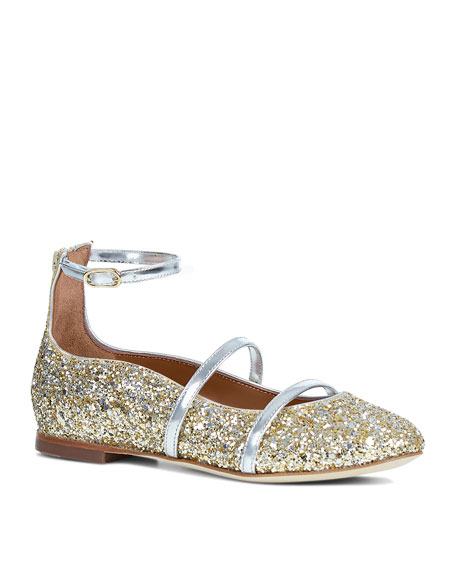 Malone Souliers Robyn Glittered Ankle-Strap Flat, Yellow/Silver,