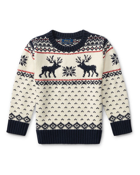 Image 1 of 1: Reindeer Knit Sweater, Size 5-7