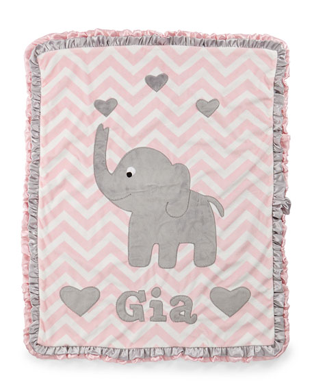 Personalized Big Foot Elephant Plush Blanket, Pink