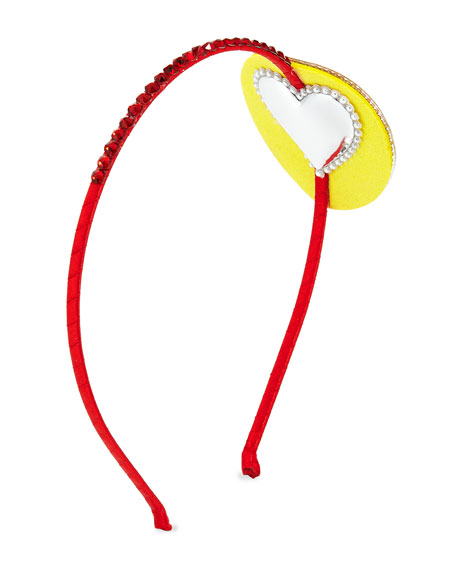 Girls' Crystal Rainbow Heart-Eyes Emoji Headband, Multi