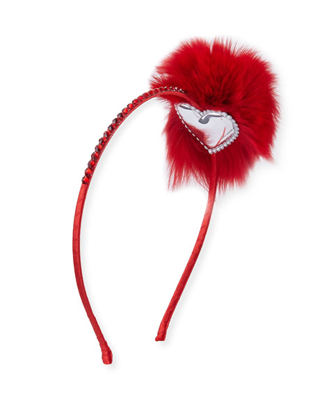 Crystal Headband w/ Fur Pompom, Red