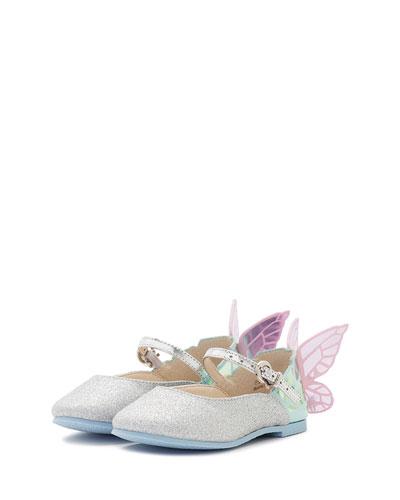 Chiara Glittered Butterfly-Wing Flat, Size 5T-3Y