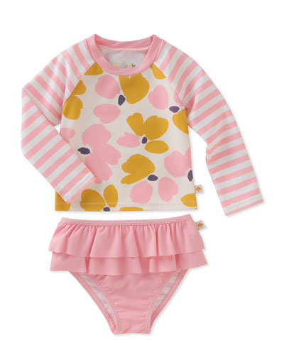 two-piece floral & striped rashgaurd swimsuit, size 12-24 months