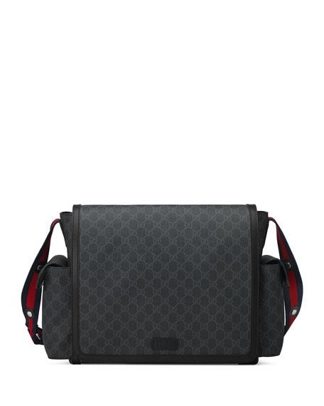 4594af5f195 Gucci Basic GG Supreme Canvas Diaper Bag, Black