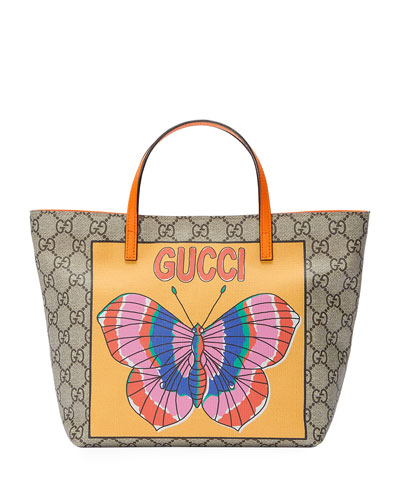 Girl's GG Supreme Tote Bag w/ Butterfly Graphic, Beige
