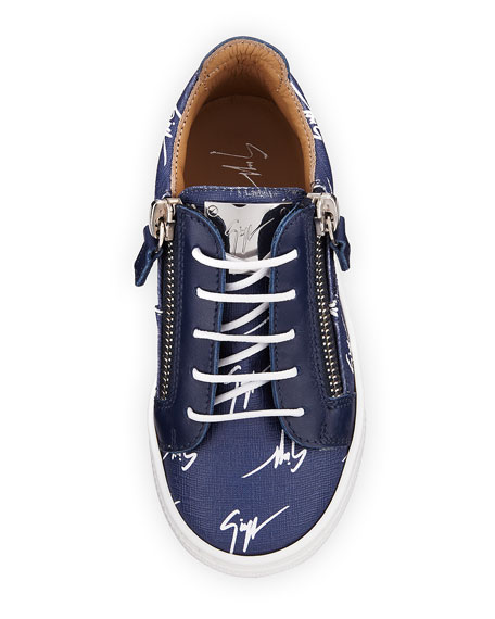 Logo-Print Leather Low-Top Sneakers, Toddler Sizes