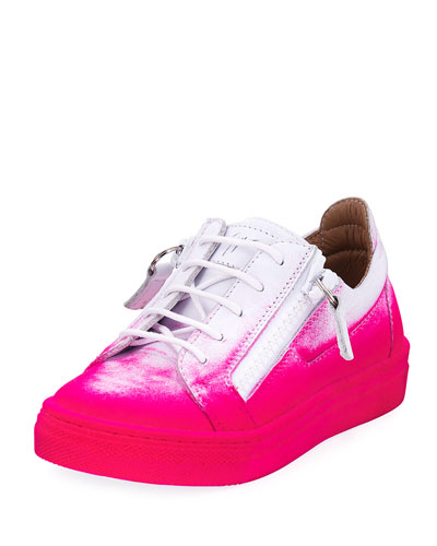Smuggy Graffiti-Print Leather Sneakers, Kids'
