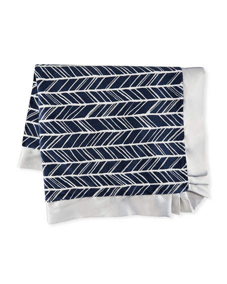 Swankie Blankie Herringbone Plush Receiving Blanket, Navy